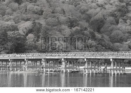 Black and White Togetsukyo bridge with forest background Arashiyama Japan