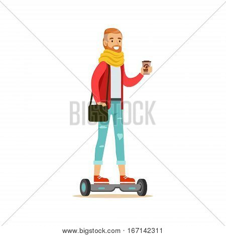 Hipster With Coffee Paper Cup Riding Electric Self-Balancing Battery Powered Personal Electric Scooter Cartoon Character. Happy Person Using Modern Technology Gyro Vehicle Vector Illustration.