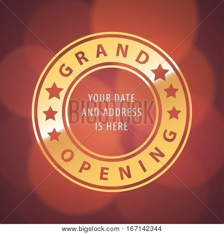 Grand opening vector banner, illustration. Template design element with letters in the circle for new store opening ceremony can be used as a background or poster