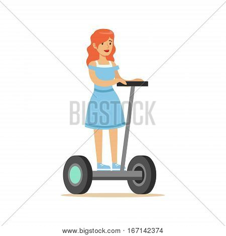 Redhead Girl In Blue Dress Riding Electric Self-Balancing Battery Powered Personal Electric Scooter Cartoon Character. Happy Person Using Modern Technology Gyro Vehicle Vector Illustration.