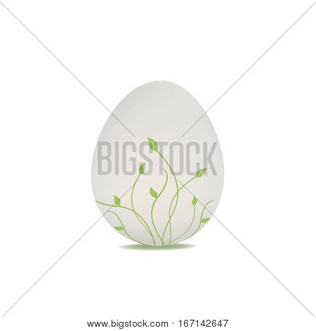 Easter Egg with Spring painted element isolated on white background