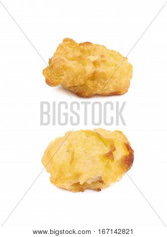 Breaded chicken nugget isolated over the white background, set of two different foreshortenings