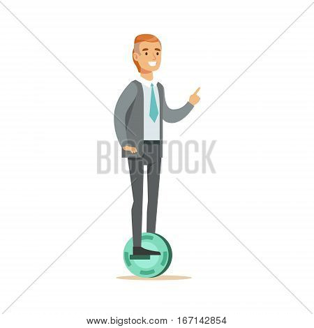 Office Worker In Suit With Tie Riding Electric Self-Balancing Battery Powered Personal Electric Scooter Cartoon Character. Happy Person Using Modern Technology Gyro Vehicle Vector Illustration.