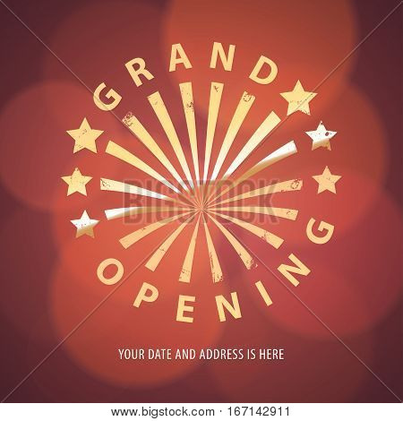 Grand opening vector banner, illustration. Nonstandard design element with gold color lettering for opening ceremony