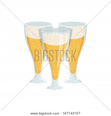 Three Tall Glasses Of Foamy Lager Beer, Oktoberfest Festival Drinks Bar Menu Item. German Beer Celebration Related Alcohol Drinks Assortment Vector Illustration.