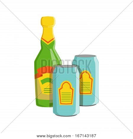 Glass Bottle And Two Tin Cans With Lager Beer, Oktoberfest Festival Drinks Bar Menu Item. German Beer Celebration Related Alcohol Drinks Assortment Vector Illustration.