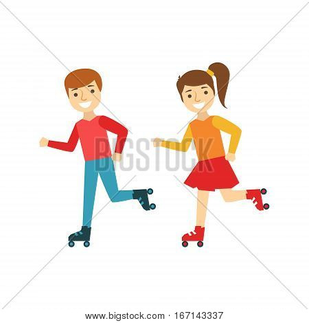Brother And Sister Kids Roller Skating, Happy Family Having Good Time Together Illustration. Household Members Enjoying Spending Time Together Vector Cartoon Drawing.