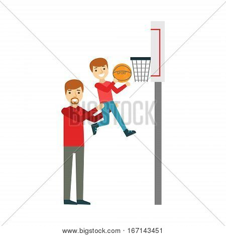 Boy And Father Playing Basketball, Happy Family Having Good Time Together Illustration. Household Members Enjoying Spending Time Together Vector Cartoon Drawing.