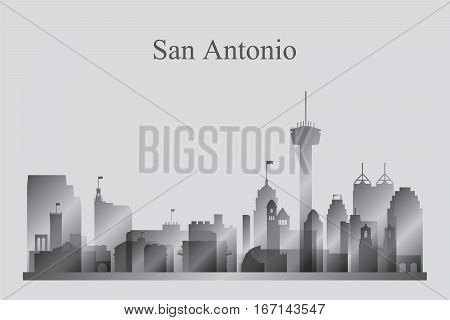 San Antonio City Skyline Silhouette In Grayscale