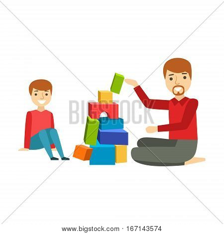 Father And A Boy Constructing From Blocks, Happy Family Having Good Time Together Illustration. Household Members Enjoying Spending Time Together Vector Cartoon Drawing.