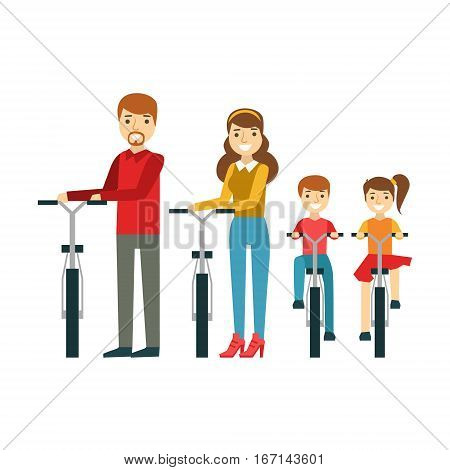 Parents And Kids With Bicycles In Park, Happy Family Having Good Time Together Illustration. Household Members Enjoying Spending Time Together Vector Cartoon Drawing.