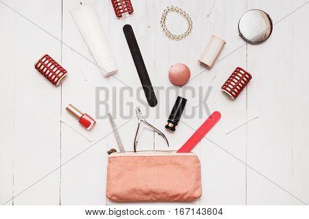 Girl fashionista can put in your small handbag million items. Bottomless female handbag concept.