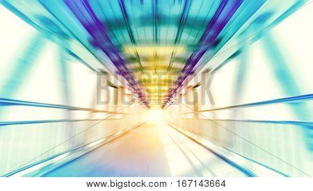 speed motion blurred background of modern metal structure bridge or overpass walk way