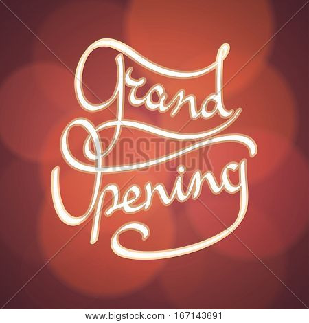 Grand opening vector banner, illustration. Template design element with lettering for new shop or startup opening ceremony