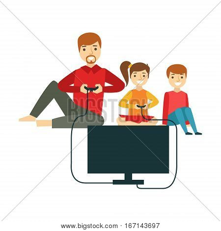Father Playing Video Games With Kids, Happy Family Having Good Time Together Illustration. Household Members Enjoying Spending Time Together Vector Cartoon Drawing.
