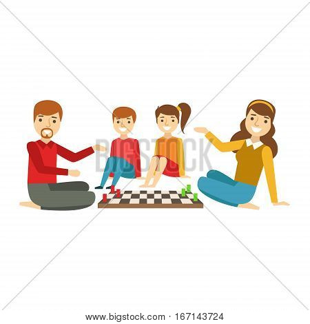 Parents And Kids Playing Chess, Happy Family Having Good Time Together Illustration. Household Members Enjoying Spending Time Together Vector Cartoon Drawing.