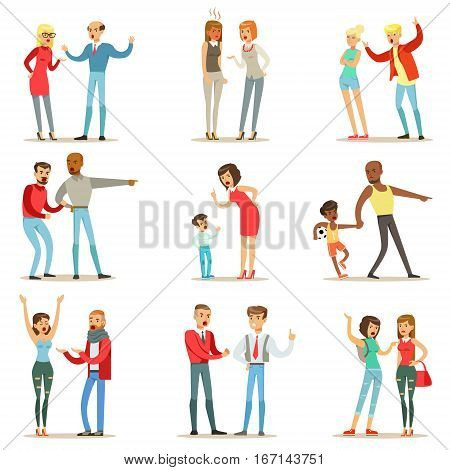 People Fighting And Quarrelling Making A Loud Public Scandal Collection Of Cartoon Characters Aggressive And Violent Behavior Illustrations. Two Person Bicker And Fight Series Of Agression And Negative Emotions Drawings. poster