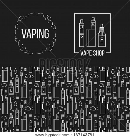 Vector illustration of vape and accessories. Isolated on black background