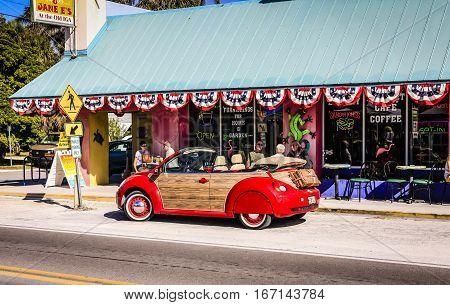 Anna Maria Island, FL, USA - December 2: A VW Woody outside a beach cafe on Anna Maria Island in Florida