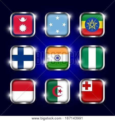 Set of world flags quadrangular glass buttons with steel border and twinkle ( Nepal . Micronesia . Ethiopia . Finland . India . Nigeria . Monaco . Algeria . Tonga )