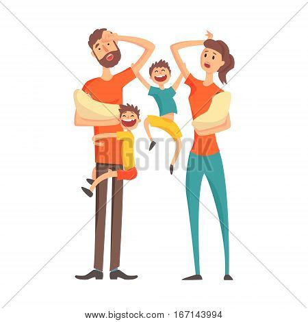 Tired Young Parents With two Babies And Two Older Sons, Part Of Family Members Series Of Cartoon Characters. Vector Illustration With A Person In Summer Clothes In Flat Cool Style.