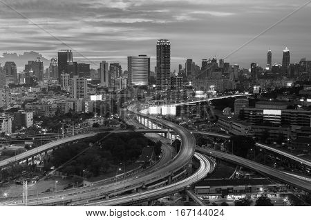 Black and White Bangkok city downtown and highway intersection Thailand