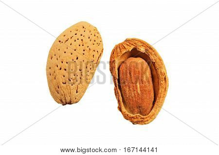 Almond nut in shell and shelled on white isolated background close up
