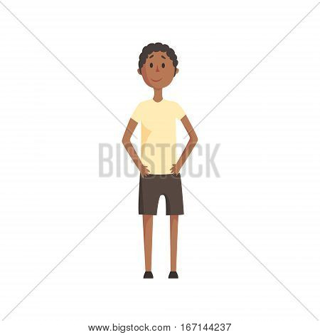 Skinny Teenage Black Boy Smiling, Part Of Family Members Series Of Cartoon Characters. Vector Illustration With A Person In Summer Clothes In Flat Cool Style.