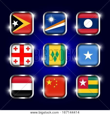 Set of world flags quadrangular glass buttons with steel border and twinkle ( East Timor . Marshall Islands . Laos . Georgia . Saint Vincent and the Grenadines . Somalia . Yemen . China . Togo )