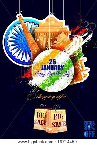 easy to edit vector illustration of Monument and Landmark of India on Indian Republic Day celebration sale background