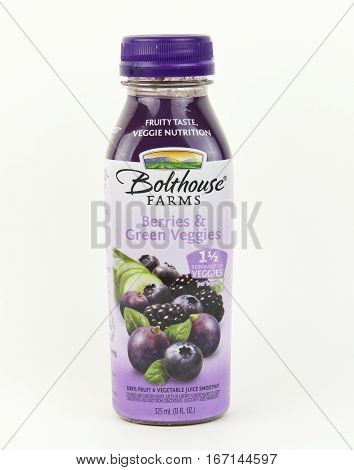 Spencer Wisconsin January282016 Bottle of Bolthouse Farms Berries &Green Veggies juice Bolthouse Farms was founded in 1915 and owned by Campbell's Soup Company