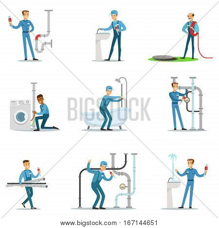 Plumber And Water Supply Plumbing Specialist At Work Doing Repairs Set Of Cartoon Character Scenes. Vector Illustration With Happy Sanitation Professional Fixing Broken Pipes With Special Tools
