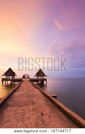 Walking way leading to seacoast skyline with dramatic sky background natual seascape background
