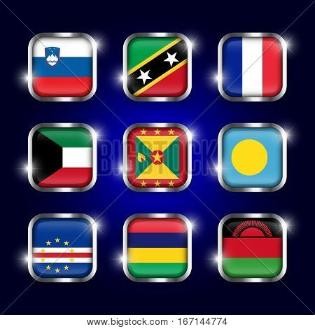 Set of world flags quadrangular glass buttons with steel border and twinkle ( Slovenia . Saint Kitts and Nevis . France . Kuwait . Grenada . Palau . Cape Verde . Mauritius . Malawi )