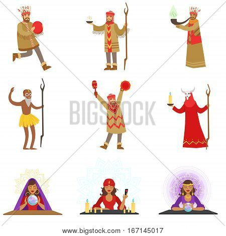 Different Cultures Shamans And Gypsy Fortune-Tellers Set Of Cartoon Characters Performing Occult Rituals. Religious People Predicting Future And Practicing Shamanism Series Of Illustrations.