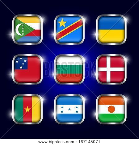 Set of world flags quadrangular glass buttons with steel border and twinkle ( Comoros . Democratic Republic of the Congo . Ukraine . Samoa Bulgaria . Denmark . Cameroon . Honduras . Niger )
