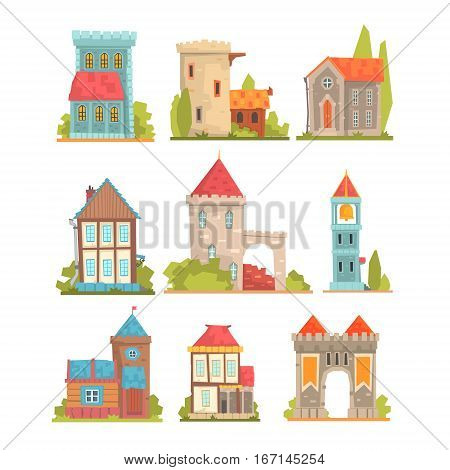 Old And Medieval Historical Buildings Set Of European Architecture Towers, Fortifications And City Houses. Cartoon Vector Middle Ages Structures Built From Stone And Wood Vector Illustrations.