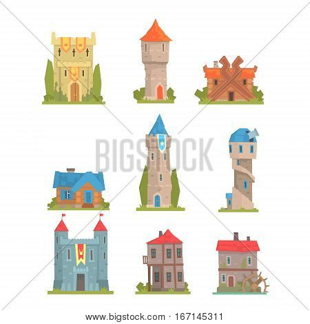 Old And Medieval Historical Buildings Collection Of European Architecture Towers, Fortifications And City Houses. Cartoon Vector Middle Ages Structures Built From Stone And Wood Vector Illustrations.