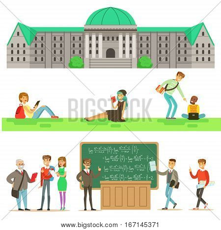 University Education, Students And Professors Set Of Illustrations. Cartoon Characters Studying In School To Get A Degree Vector Simple Drawings.
