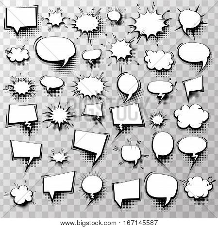 Big set 36 blank effects template comic speech bubbles halftone dot background style pop art. Comic dialog empty cloud, space text style pop art. Creative idea conversation comic sketch explosion