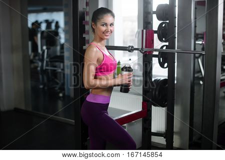 Young Fitness Woman Tired In Gym Drink Sportive Nutrition , Amino Acid Or Bcaa Of Shaker , Horizonta