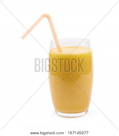 Tall glass filled with the smoothie drink and served with a drinking straw, composition isolated over the white background