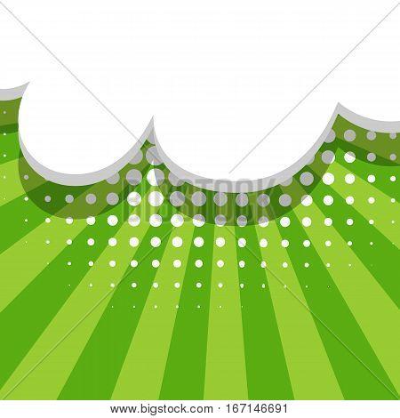Blank balloon template. Dot background style pop art. Clear green speech bubbles halftone. Comic text talk dialog empty cloud. Creative idea conversation sketch drawing box