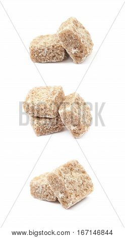 Couple of sugar cubes isolated over the white background, set of three different foreshortenings