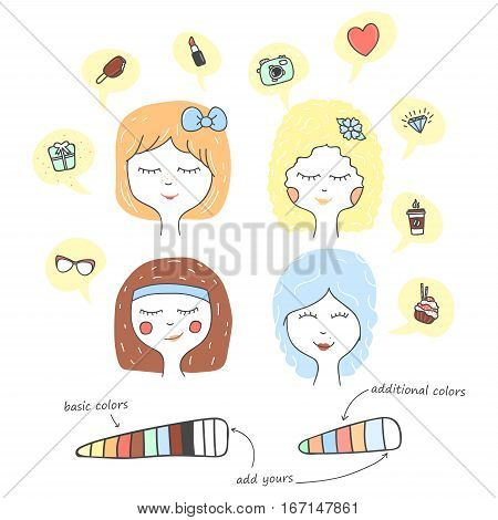 Cute stylized girl portrait. Cartoon character teenager dreaming. Hand drawn icons in speech bubbles. Pastel colors vector illustration.