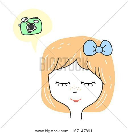 Cute stylized girl portrait. Cartoon character teenager dreaming about camera. Hand drawn icon in speech bubbles. Pastel colors vector illustration.