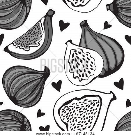 Greyscale seamless pattern with figs. Illustration in vector format