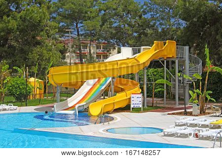 Aquapark slides on the territiry of the hotel in Turkey