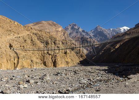 suspension bridge Himalayas Annapurna Conservation Area Nepal