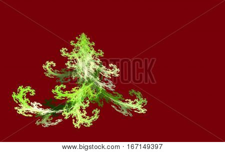 fractal Christmas tree on a red background
